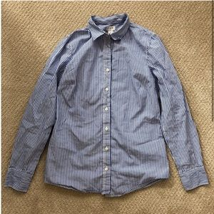 J. Crew White & Blue Striped Button Down Shirt Top
